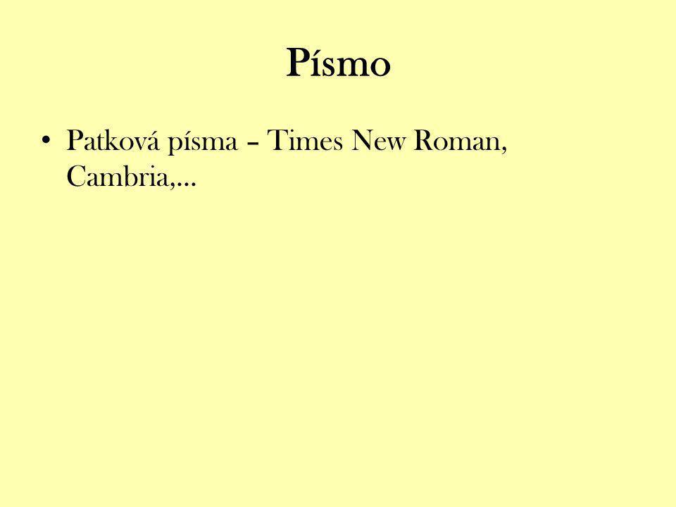 Patková písma – Times New Roman, Cambria,...