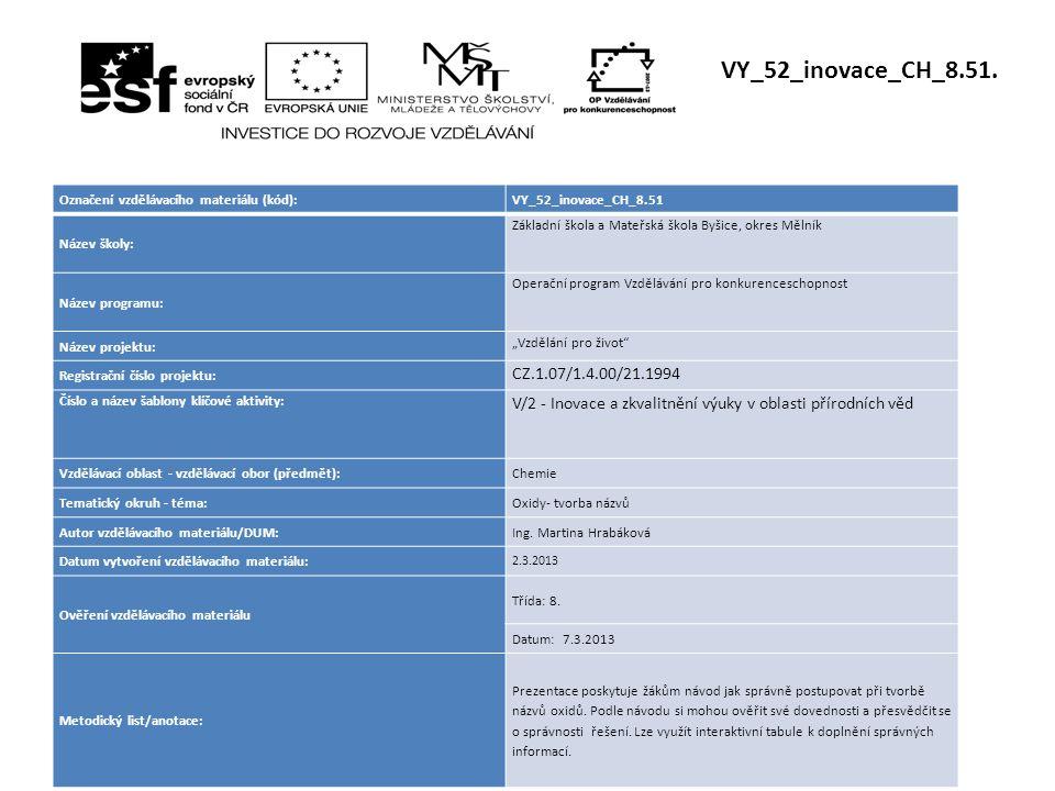 Označení vzdělávacího materiálu (kód):VY_52_inovace_CH_8.51 Název školy: Základní škola a Mateřská škola Byšice, okres Mělník Název programu: Operační