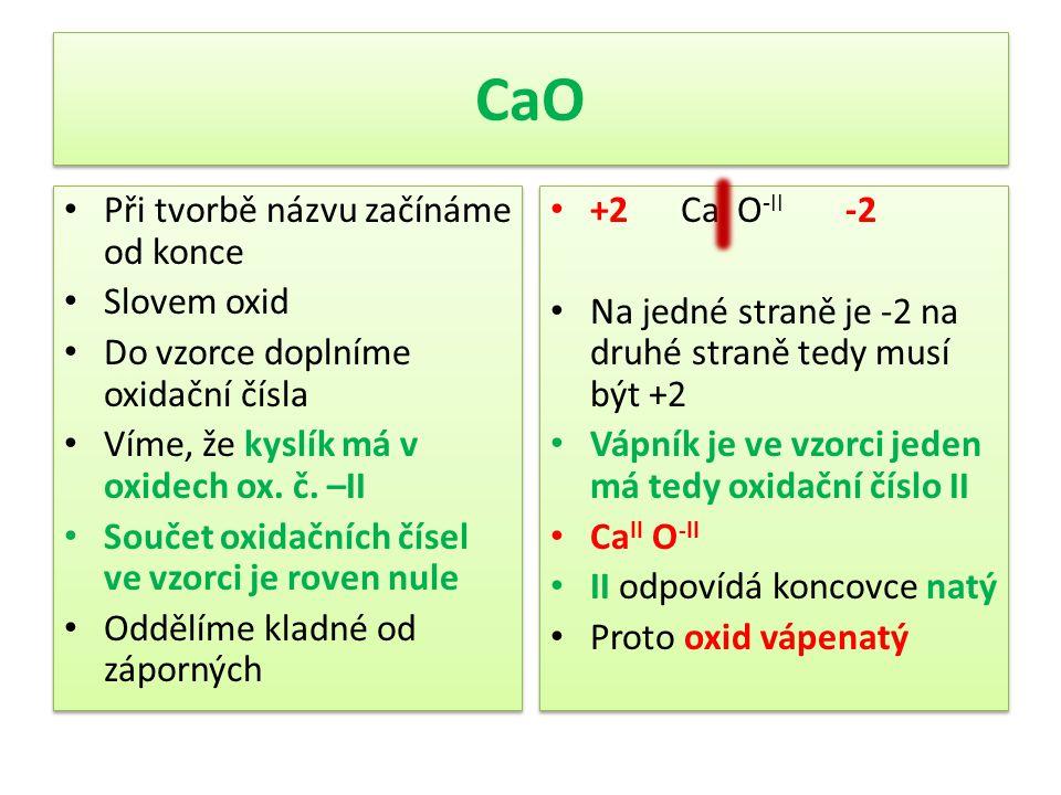 CaO Při tvorbě názvu začínáme od konce Slovem oxid Do vzorce doplníme oxidační čísla Víme, že kyslík má v oxidech ox. č. –II Součet oxidačních čísel v