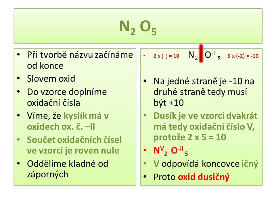 N 2 O 5 Při tvorbě názvu začínáme od konce Slovem oxid Do vzorce doplníme oxidační čísla Víme, že kyslík má v oxidech ox. č. –II Součet oxidačních čís