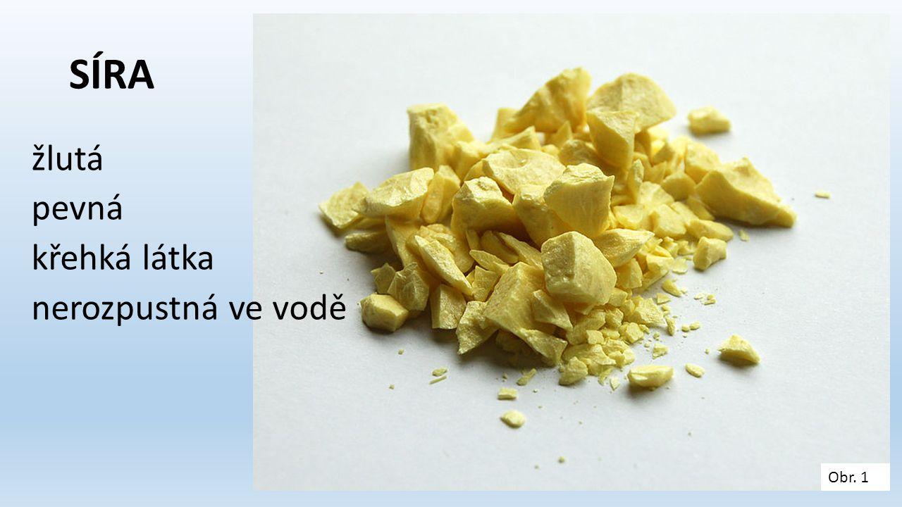 SÍRA žlutá pevná křehká látka nerozpustná ve vodě Obr. 1
