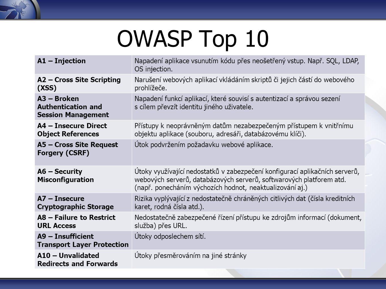 OWASP Top 10 A1 – InjectionNapadení aplikace vsunutím kódu přes neošetřený vstup. Např. SQL, LDAP, OS injection. A2 – Cross Site Scripting (XSS) Naruš