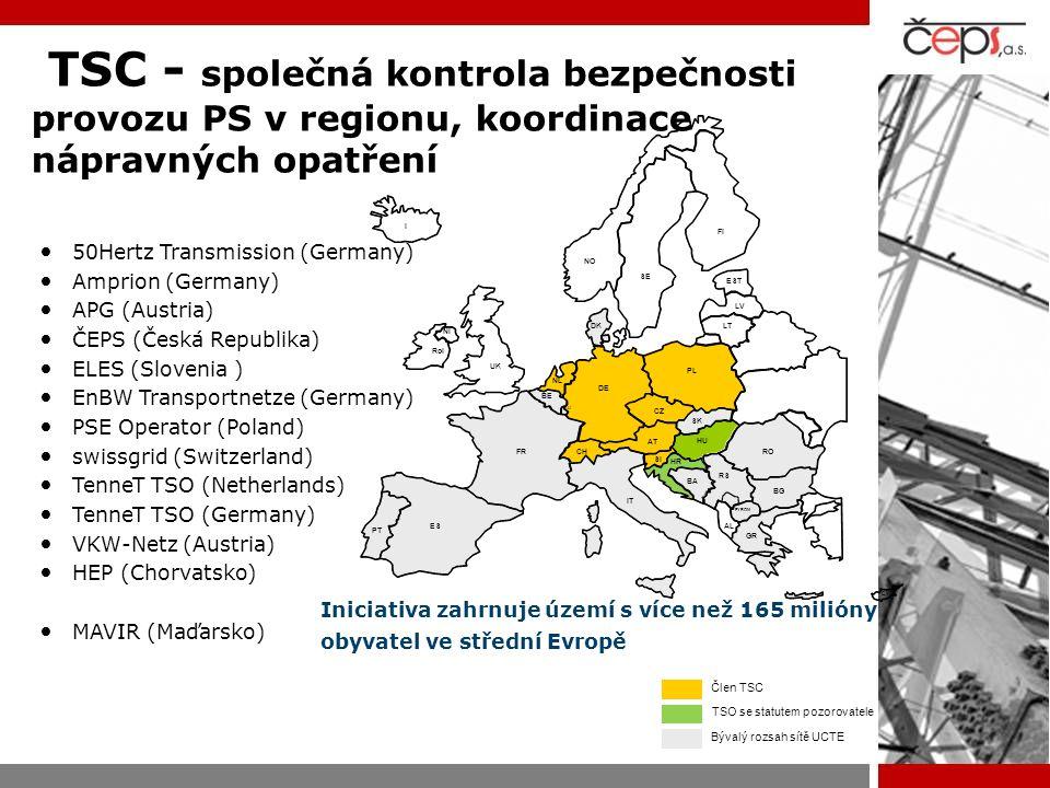 TSC - společná kontrola bezpečnosti provozu PS v regionu, koordinace nápravných opatření 50Hertz Transmission (Germany) Amprion (Germany) APG (Austria