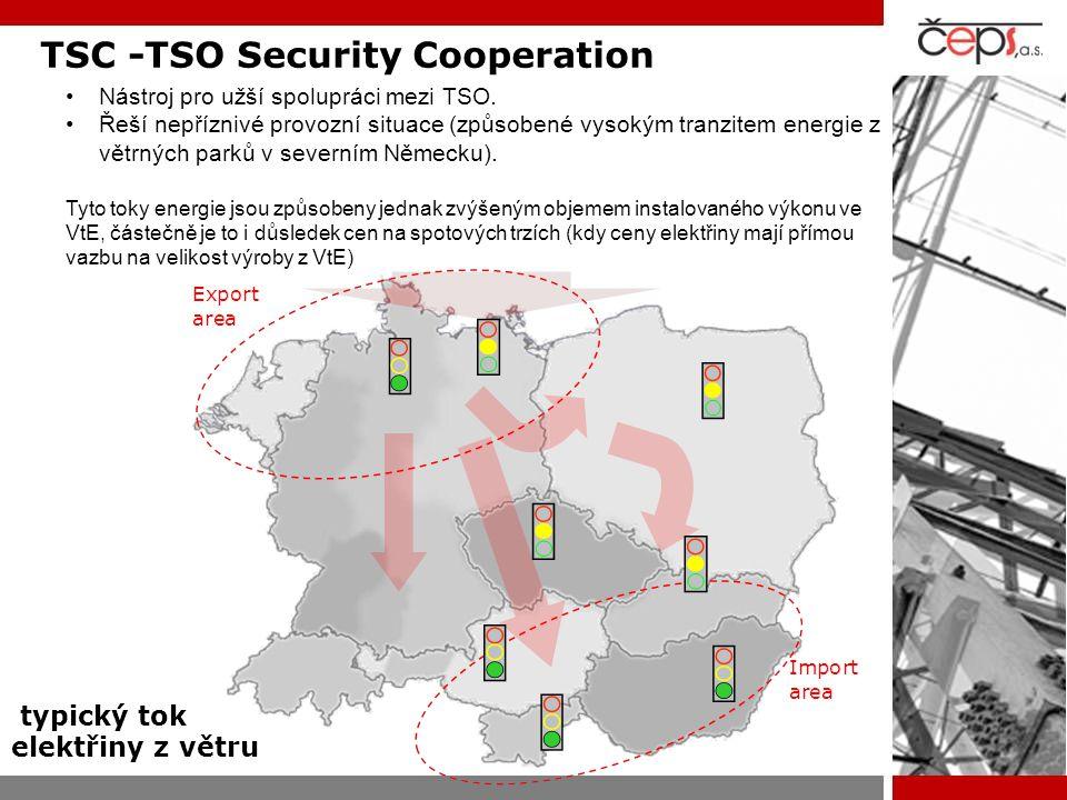TSC -TSO Security Cooperation Nástroj pro užší spolupráci mezi TSO. Řeší nepříznivé provozní situace (způsobené vysokým tranzitem energie z větrných p