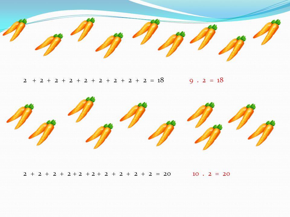 2 + 2 + 2 + 2 + 2 + 2 + 2 + 2 + 2 = 18 9. 2 = 18 2 + 2 + 2 + 2 + 2 + 2 + 2 + 2 + 2 + 2 = 20 10. 2 = 20