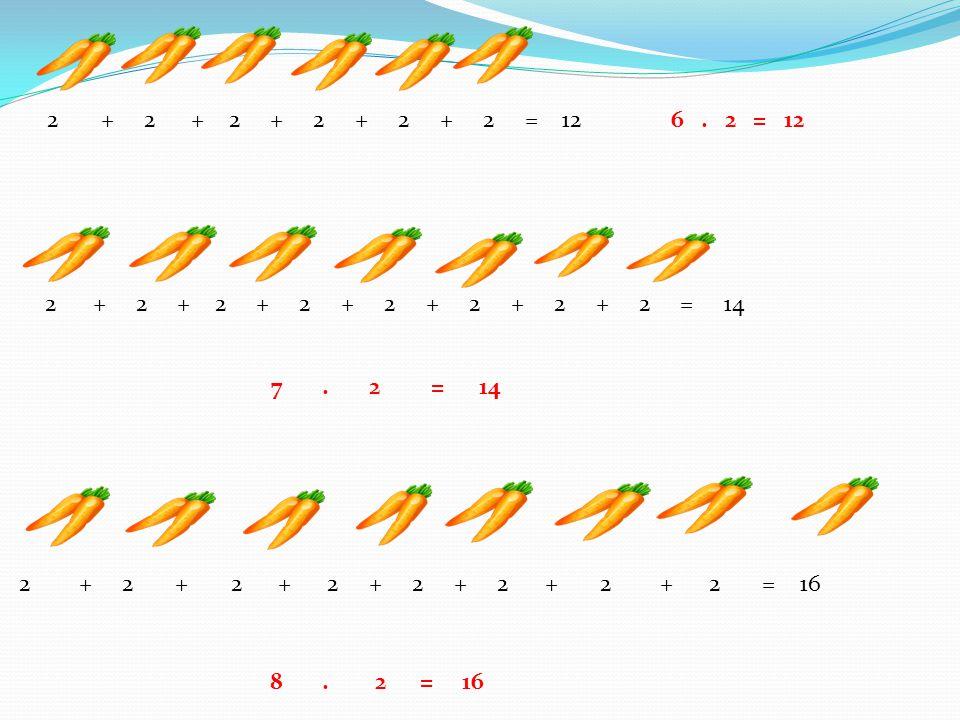 2 + 2 + 2 + 2 + 2 + 2 = 12 6. 2 = 12 2 + 2 + 2 + 2 + 2 + 2 + 2 + 2 = 14 2 + 2 + 2 + 2 + 2 + 2 + 2 + 2 = 16 8. 2 = 16 7. 2 = 14