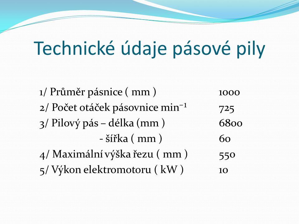 Technické údaje pásové pily 1/ Průměr pásnice ( mm ) 1000 2/ Počet otáček pásovnice min⁻¹725 3/ Pilový pás – délka (mm )6800 - šířka ( mm )60 4/ Maxim