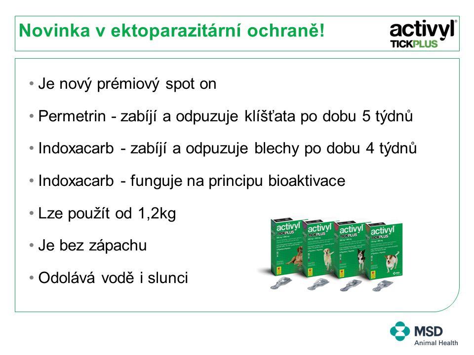 Účinnost proti kladení vajíček 1 Každá kočka byla infestována 50 dospělými blechami Ctenocephalides felis z kmene KS1 ve dnech -2, 7, 14, 21, 28, 35 a 42.