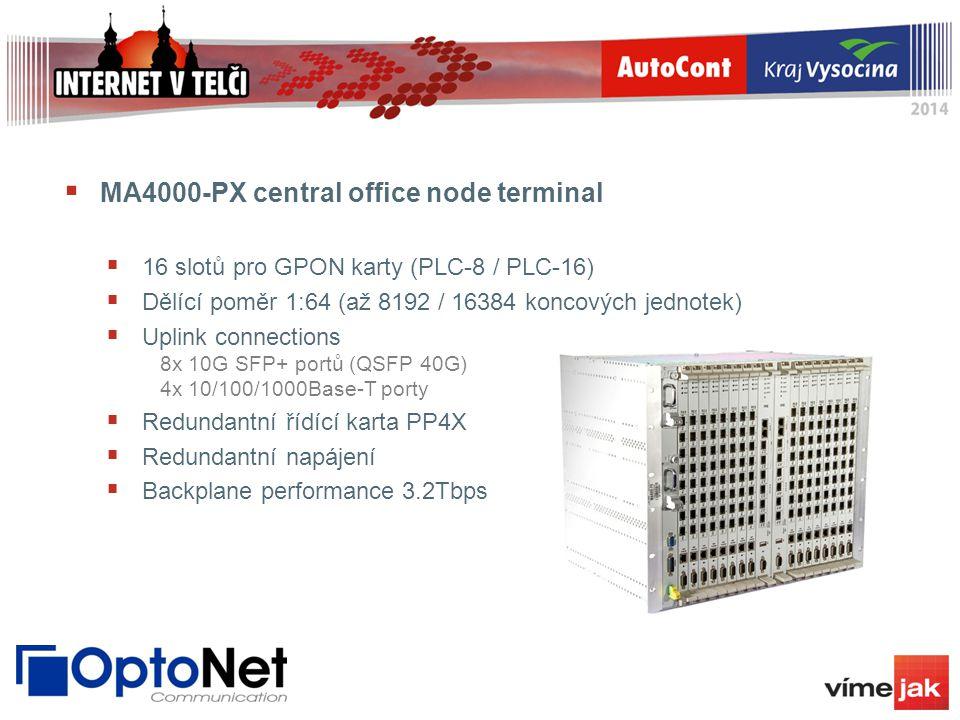  MA4000-PX central office node terminal  16 slotů pro GPON karty (PLC-8 / PLC-16)  Dělící poměr 1:64 (až 8192 / 16384 koncových jednotek)  Uplink