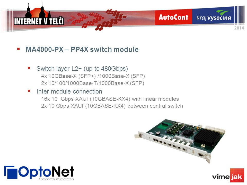  MA4000-PX – PP4X switch module  Switch layer L2+ (up to 480Gbps) 4x 10GBase ‐ X (SFP+) /1000Base ‐ X (SFP) 2x 10/100/1000Base ‐ T/1000Base ‐ X (SFP