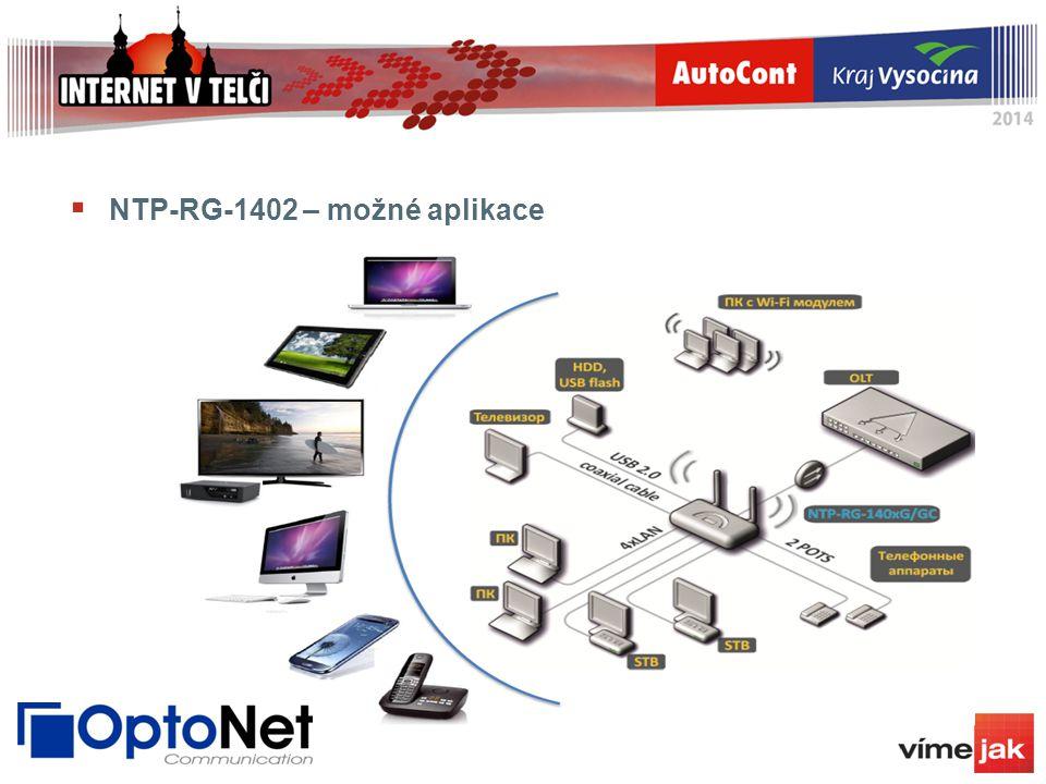  NTP-RG-1402 – možné aplikace