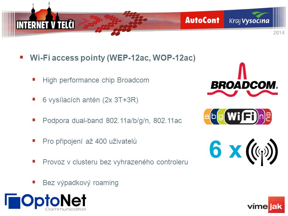 Wi-Fi access pointy (WEP-12ac, WOP-12ac)  High performance chip Broadcom  6 vysílacích antén (2x 3T+3R)  Podpora dual-band 802.11a/b/g/n, 802.11a