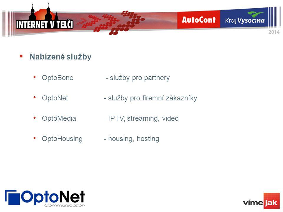  Nabízené služby OptoBone - služby pro partnery OptoNet- služby pro firemní zákazníky OptoMedia- IPTV, streaming, video OptoHousing- housing, hosting
