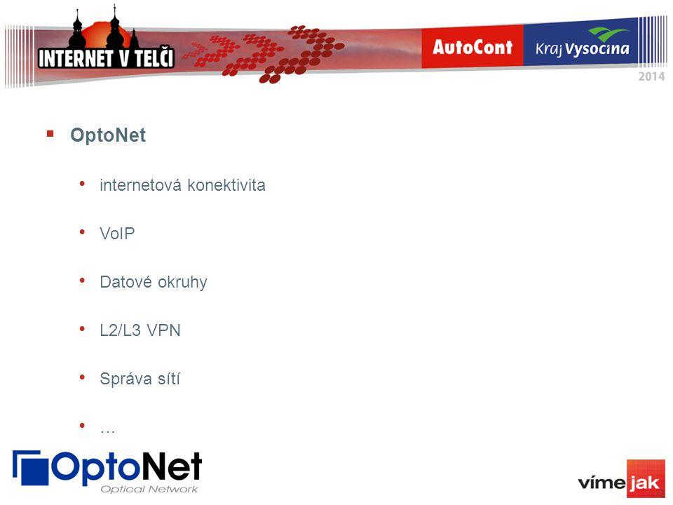  OptoNet internetová konektivita VoIP Datové okruhy L2/L3 VPN Správa sítí …
