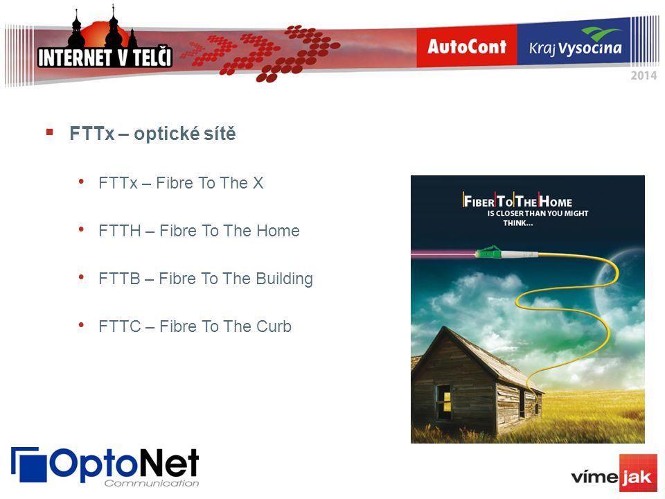  FTTx – optické sítě FTTx – Fibre To The X FTTH – Fibre To The Home FTTB – Fibre To The Building FTTC – Fibre To The Curb