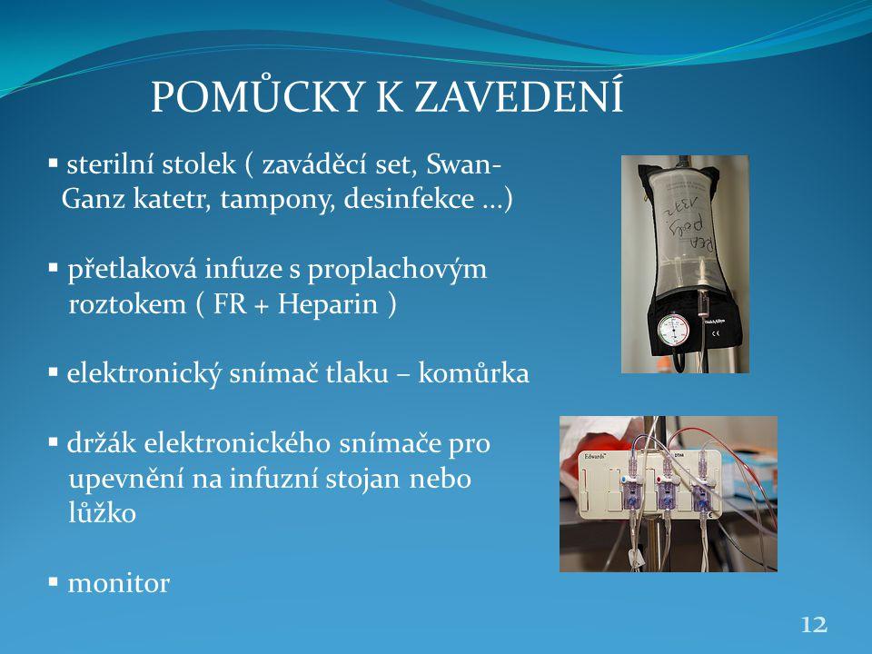 POMŮCKY K ZAVEDENÍ  sterilní stolek ( zaváděcí set, Swan- Ganz katetr, tampony, desinfekce...)  přetlaková infuze s proplachovým roztokem ( FR + Hep