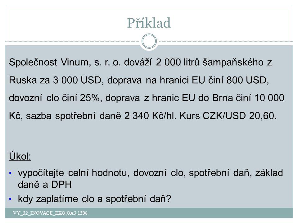 Příklad Společnost Vinum, s. r. o. dováží 2 000 litrů šampaňského z Ruska za 3 000 USD, doprava na hranici EU činí 800 USD, dovozní clo činí 25%, dopr