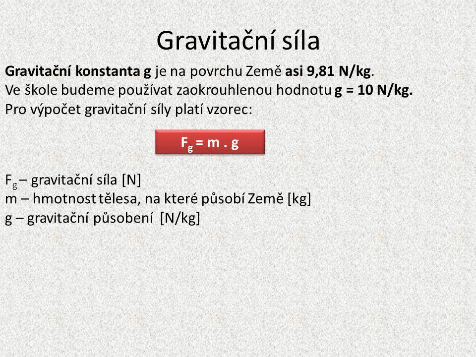 Gravitační síla Gravitační konstanta g je na povrchu Země asi 9,81 N/kg.