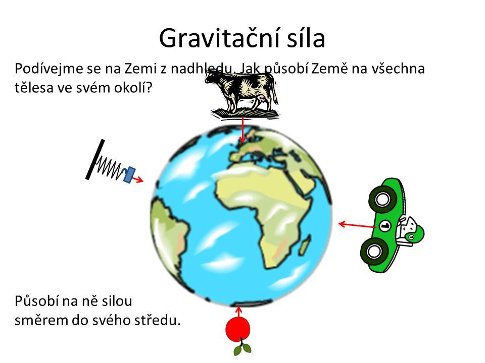 Gravitační síla Podívejme se na Zemi z nadhledu.Jak působí Země na všechna tělesa ve svém okolí.