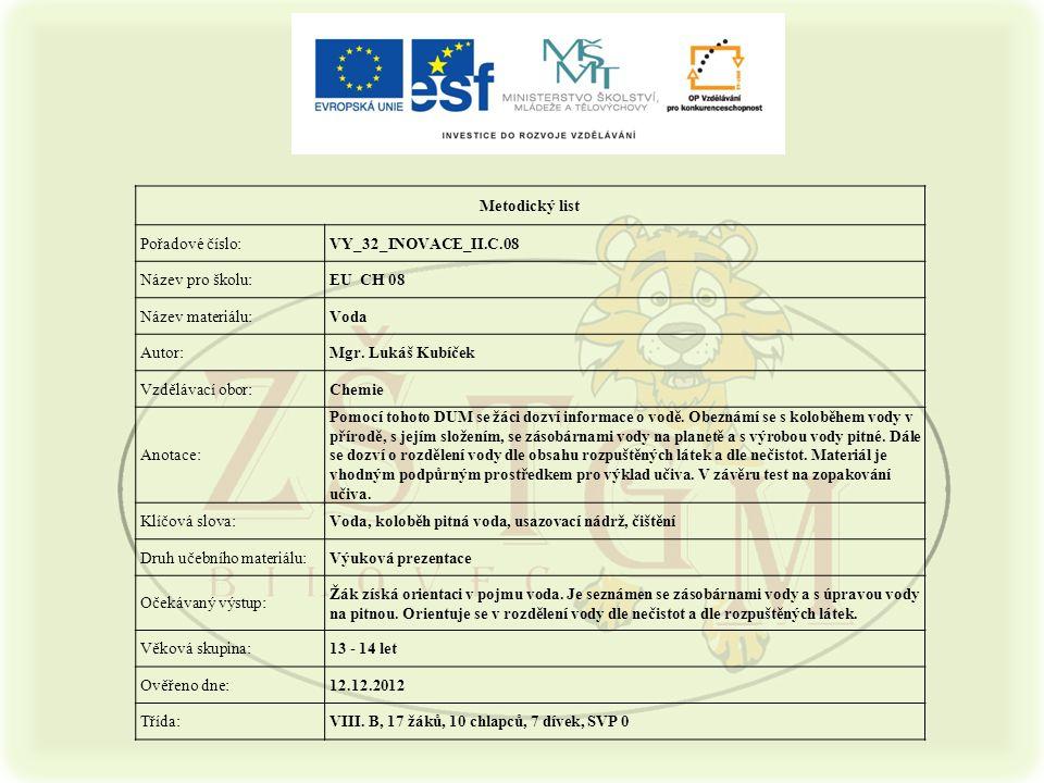 Metodický list Pořadové číslo:VY_32_INOVACE_II.C.08 Název pro školu:EU CH 08 Název materiálu:Voda Autor:Mgr.