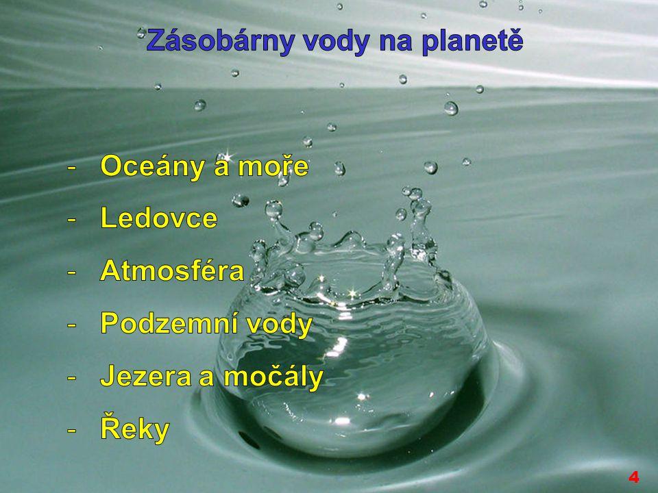 4 ROZDĚLENÍ VODY Vodu lze rozdělit podle mnoha hledisek: