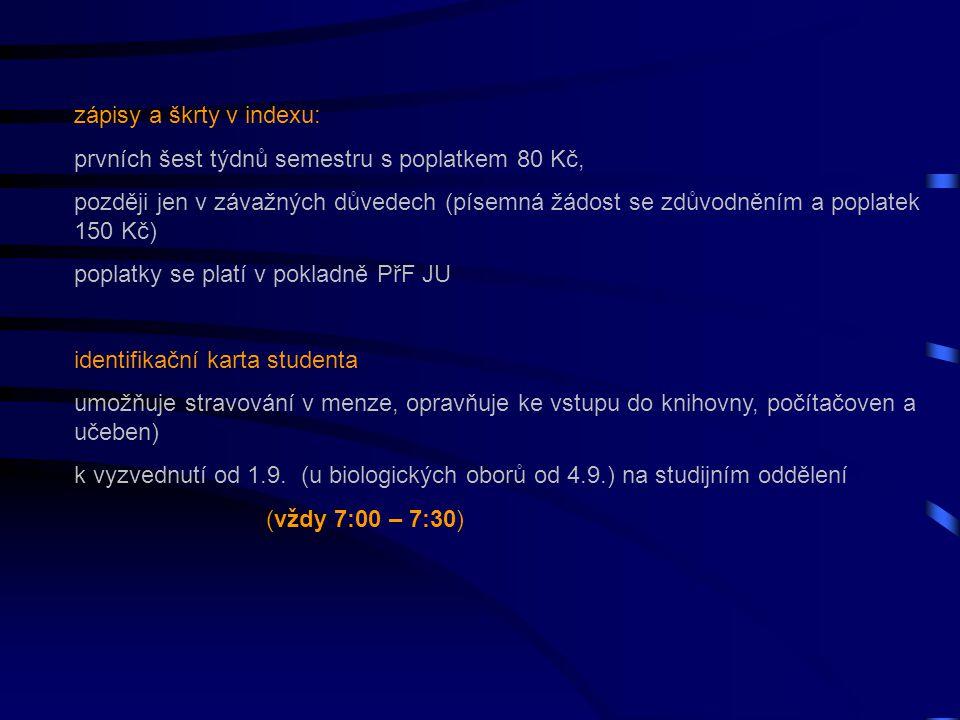Kolotoč 2014: kurzy – všechny obory: Úvod do studia na VŠ (před úvodem test z matematiky – zjištění úrovně) Informační zdroje v přírodních vědách (knihovna) Počítačová technika (přidělení adres a přesměrování e-mailů – dnes, ihned dostanete zápočet) Biologie a kombinace s Biol.