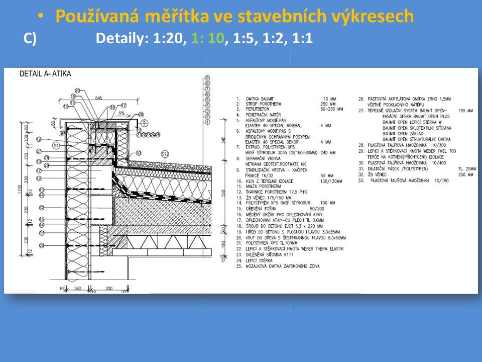 Používaná měřítka ve stavebních výkresech C) Detaily: 1:20, 1: 10, 1:5, 1:2, 1:1