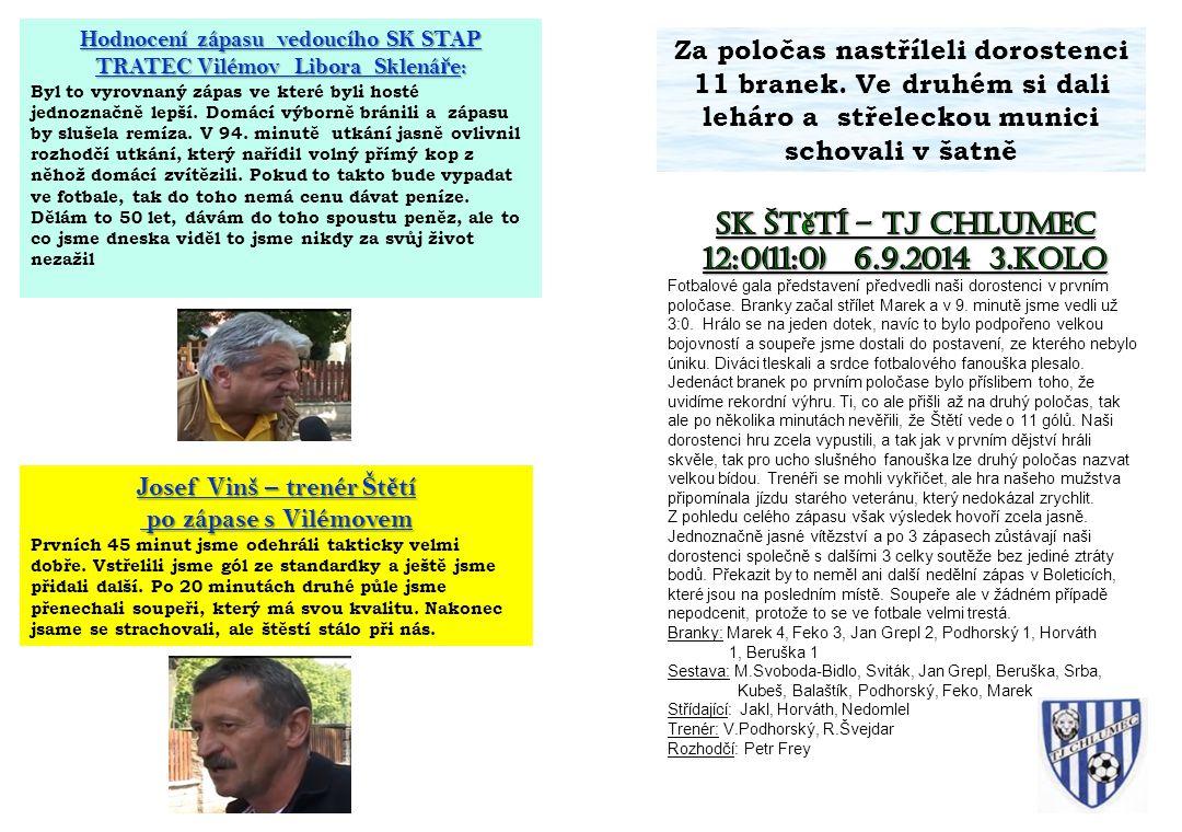 Hodnocení zápasu vedoucího SK STAP TRATEC Vilémov Libora Sklená ř e: Byl to vyrovnaný zápas ve které byli hosté jednoznačně lepší. Domácí výborně brán