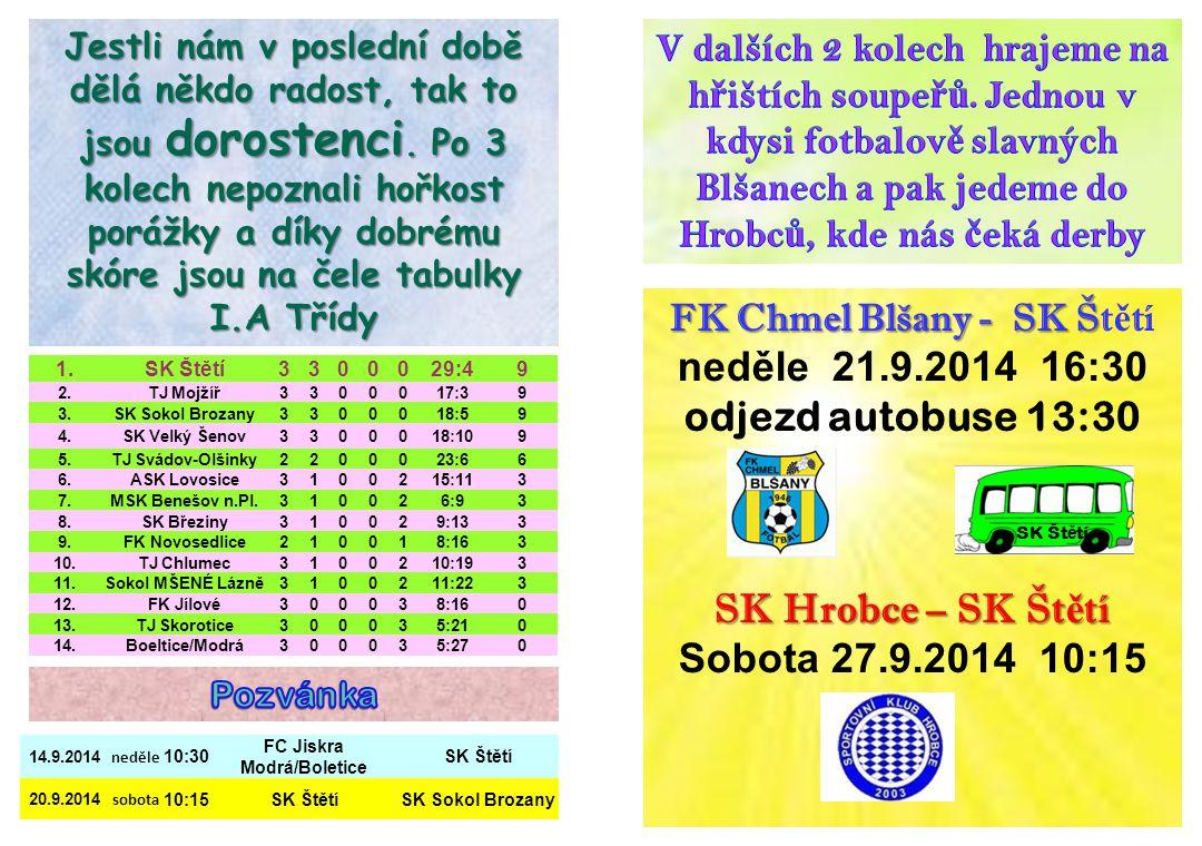 FK Chmel Blšany - SK Š FK Chmel Blšany - SK Št ě tí neděle 21.9.2014 16:30 odjezd autobuse 13:30 SK Hrobce – SK Št ě tí Sobota 27.9.2014 10:15 SK Št ě