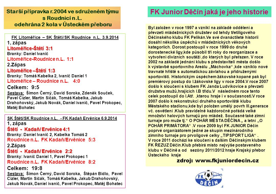 Poslední 2 zápasy s Juniorem FK Junior Děčín – SK Mondi Štětí 1 :3(0:1) 7.kolo 23.9.2012 Branky: Stejskal 1, Kucler 1, Kala 1 Sestava: Michovský- Slanička, Tůma, Šmidrkal-Kala, Remenec(61.Tichý), Stejskal, Kucler(81.J.Svoboda), Mencl-Belák, Rejman(85.Ransdorf) Připraveni: J.Svoboda Trenér: J.Kala Asistent: M.Hamšík Vedoucí: D.Lisec Masér: J.Nedomlel SK Mondi Štětí – FK Junior Děčín 2:0(2:0) 20.4.2013 22.kolo Branky: Remenec 2 Sestava: Michovský-Slanička, Tůma, Šmidrkal, Ransdorf- Belák(82.P.Vaněk), Stejskal, Šimral, Pícha-Tichý(60.Kala), Remenec(86.Remenec) Připraveni: Duník Trenér: L.Fišer Asistent: M.Hamšík, M.Müller Vedoucí: J.Havner Masér: J.Nedomlel Rozhodčí: Roháč-Ipser, Beneš ŽK: 2:4 150 diváků Štětí-Junior Děčín 20.4.2013 Okresní přebor mladších žáků po 2.hracích kolech 1.TJ Sokol Pokratice22000 24:0 6 2.Sokol Malé Žernoseky2200021:16 3.FK Litoměřice B2200014:26 4.FK Libochovice2100116:33 5.SK Štětí B210014:23 6.Žitenice/Lovosice210012:53 7.TJ Viktorie Budyně210017:153 8.TJ Sokol trezín200022:180 9.Sokol Zahořany200021:180 10.FK Peruc20002 0:27 0 Dosavadní výsledky 9.kolo 30.8.2014Litoměřice B - Terezín12:1(2:0) 30.8.2014Libochovice - Zahořany15:1(8:1) 30.8.2014Pokratice - Peruc20:0(10:0) 31.8.2014Štětí B - Žitenice/Lovosice1:2(1:1) 31.8.2014Budyně - Malé Žernoseky0:15(0:8) 1.kolo 6.9.2014Peruc - Budyně0:7(0:4) 6.9.2014Zahořany - Štětí B0:3(0:1) 7.9.2014Malé Žernoseky - Terezín6:1(0:0) 7.9.2014Žitenice/Lovosice - Pokratice0:4(0:1) 7.9.2014Litoměřice B - Libochovice2:1(1:0)