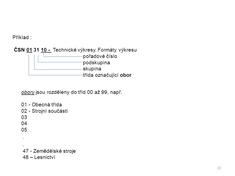 Příklad : ČSN 01 31 10 - Technické výkresy. Formáty výkresu pořadové číslo podskupina skupina třída označující obor obory jsou rozděleny do tříd 00 až