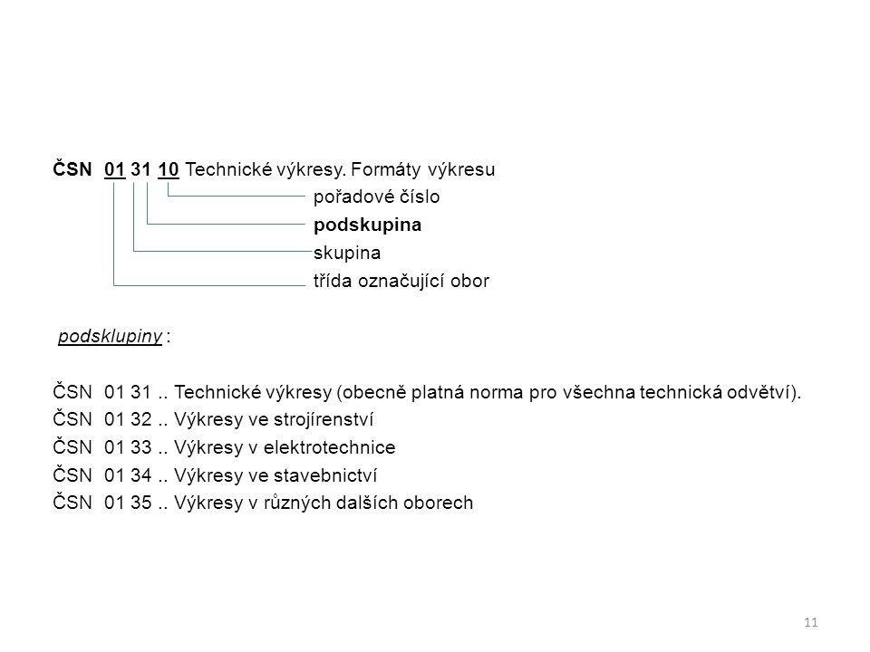 ČSN 01 31 10 Technické výkresy. Formáty výkresu pořadové číslo podskupina skupina třída označující obor podsklupiny : ČSN 01 31.. Technické výkresy (o