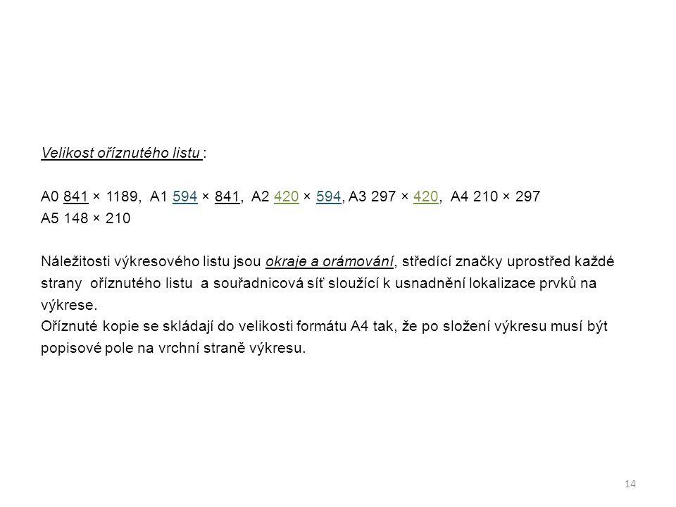 Velikost oříznutého listu : A0 841 × 1189, A1 594 × 841, A2 420 × 594, A3 297 × 420, A4 210 × 297 A5 148 × 210 Náležitosti výkresového listu jsou okra
