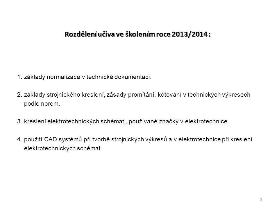 Rozdělení učiva ve školením roce 2013/2014 : 1. základy normalizace v technické dokumentaci. 2. základy strojnického kreslení, zásady promítání, kótov