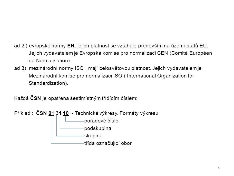Příklad : ČSN 01 31 10 - Technické výkresy.