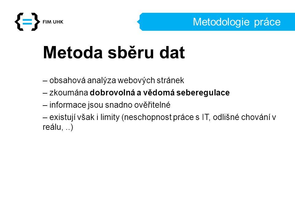 Metodologie práce Metoda sběru dat – obsahová analýza webových stránek – zkoumána dobrovolná a vědomá seberegulace – informace jsou snadno ověřitelné – existují však i limity (neschopnost práce s IT, odlišné chování v reálu,..)