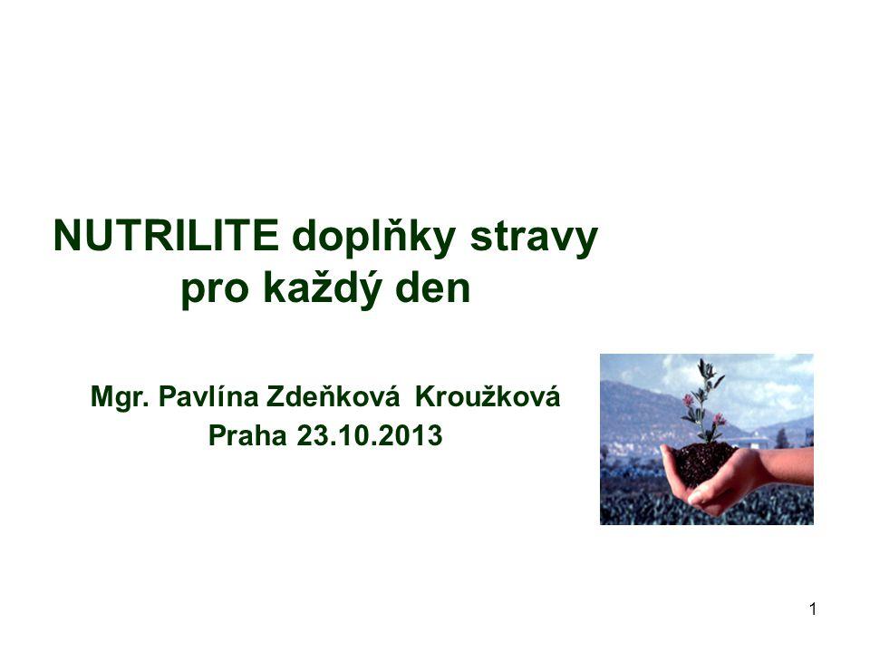 1 NUTRILITE doplňky stravy pro každý den Mgr. Pavlína Zdeňková Kroužková Praha 23.10.2013