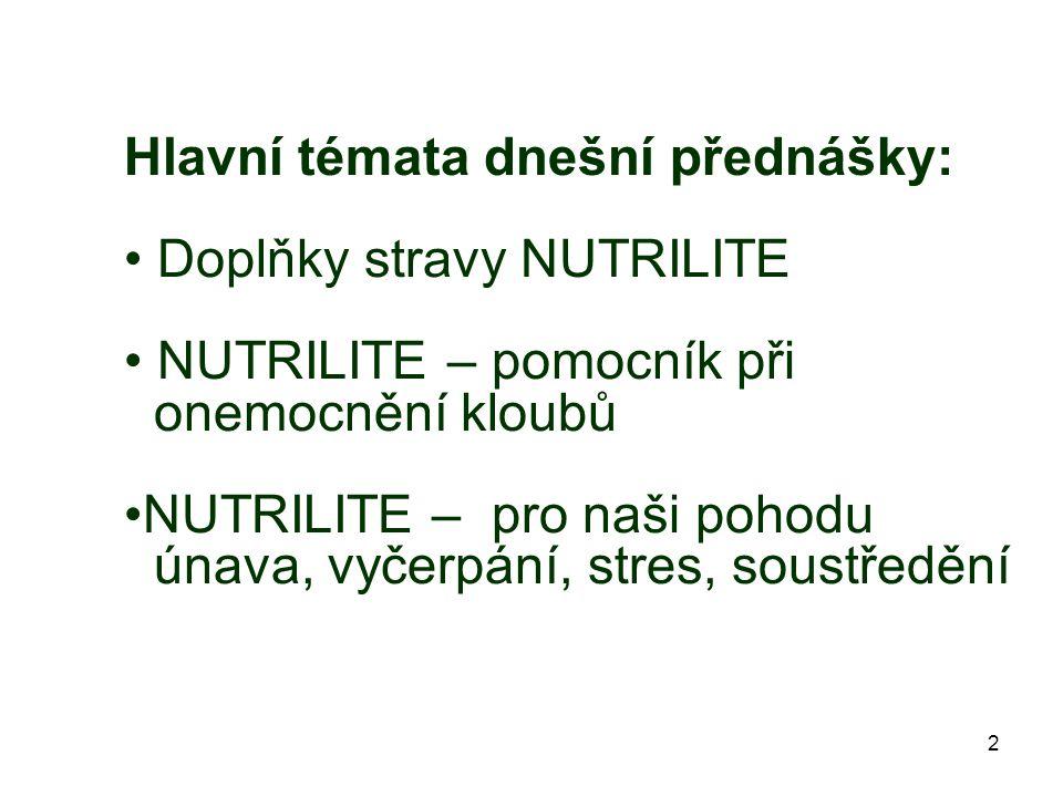 2 Hlavní témata dnešní přednášky: Doplňky stravy NUTRILITE NUTRILITE – pomocník při onemocnění kloubů NUTRILITE – pro naši pohodu únava, vyčerpání, stres, soustředění