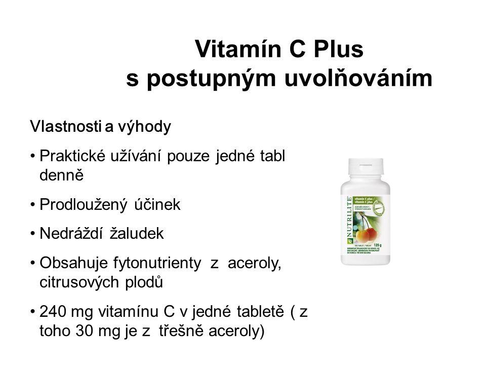 Vitamín C Plus s postupným uvolňováním Vlastnosti a výhody Praktické užívání pouze jedné tablety denně Prodloužený účinek Nedráždí žaludek Obsahuje fytonutrienty z aceroly, citrusových plodů 240 mg vitamínu C v jedné tabletě ( z toho 30 mg je z třešně aceroly)