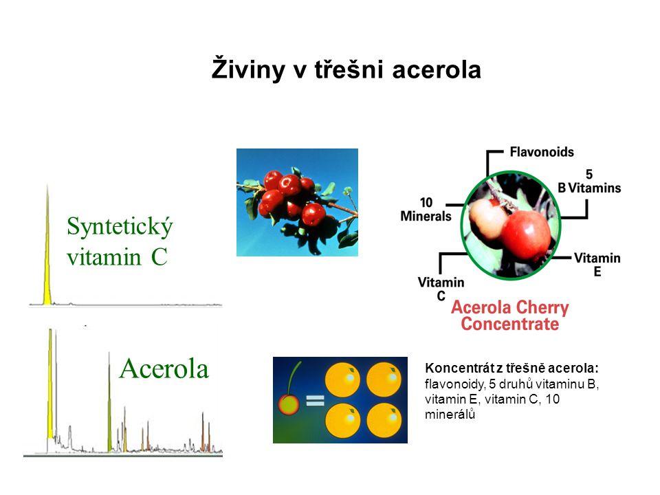 Syntetický vitamin C Acerola Živiny v třešni acerola Koncentrát z třešně acerola: flavonoidy, 5 druhů vitaminu B, vitamin E, vitamin C, 10 minerálů