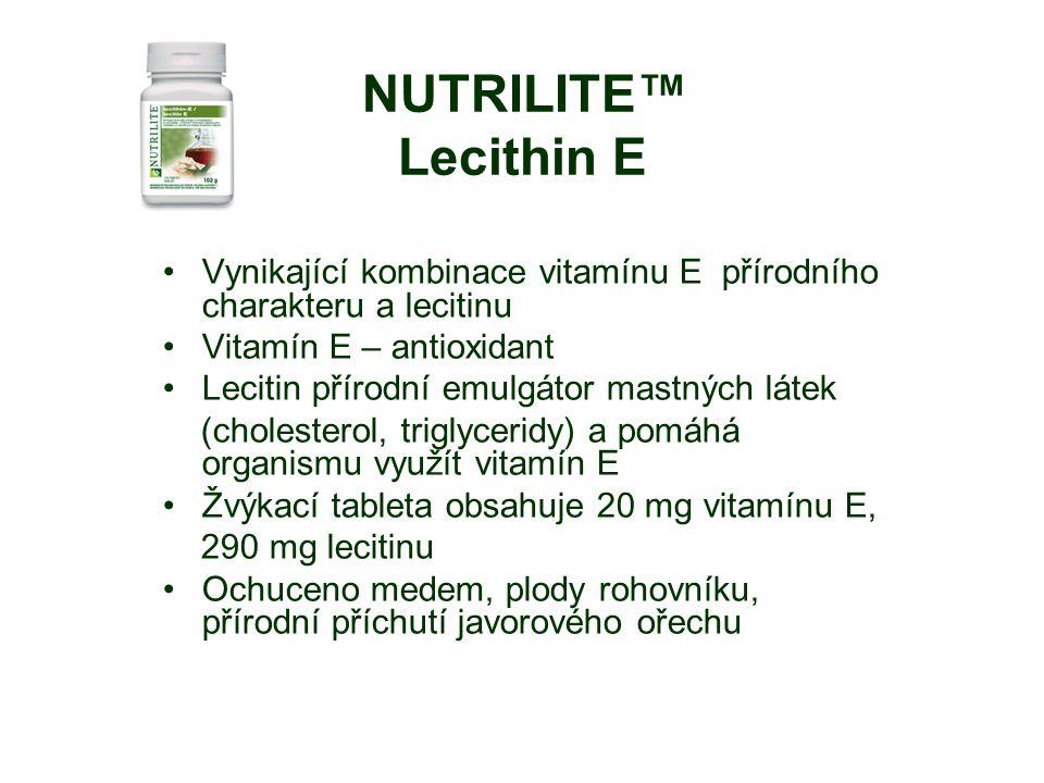 NUTRILITE™ Lecithin E Vynikající kombinace vitamínu E přírodního charakteru a lecitinu Vitamín E – antioxidant Lecitin přírodní emulgátor mastných látek (cholesterol, triglyceridy) a pomáhá organismu využít vitamín E Žvýkací tableta obsahuje 20 mg vitamínu E, 290 mg lecitinu Ochuceno medem, plody rohovníku, přírodní příchutí javorového ořechu