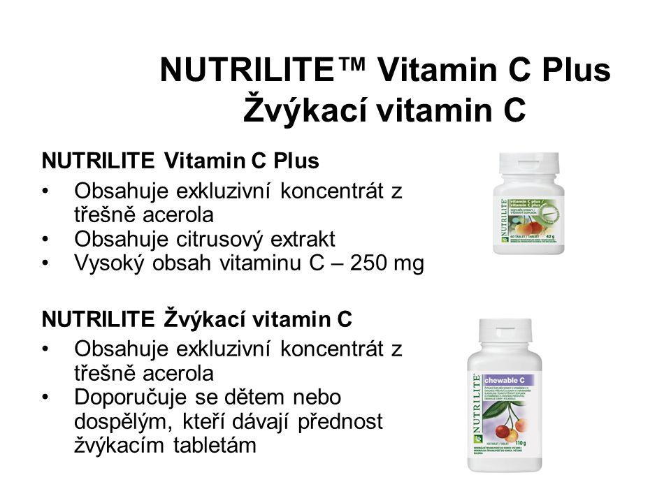 NUTRILITE™ Vitamin C Plus Žvýkací vitamin C NUTRILITE Vitamin C Plus Obsahuje exkluzivní koncentrát z třešně acerola Obsahuje citrusový extrakt Vysoký obsah vitaminu C – 250 mg NUTRILITE Žvýkací vitamin C Obsahuje exkluzivní koncentrát z třešně acerola Doporučuje se dětem nebo dospělým, kteří dávají přednost žvýkacím tabletám