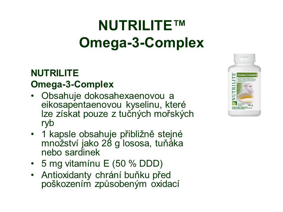 NUTRILITE™ Omega-3-Complex NUTRILITE Omega-3-Complex Obsahuje dokosahexaenovou a eikosapentaenovou kyselinu, které lze získat pouze z tučných mořských ryb 1 kapsle obsahuje přibližně stejné množství jako 28 g lososa, tuňáka nebo sardinek 5 mg vitamínu E (50 % DDD) Antioxidanty chrání buňku před poškozením způsobeným oxidací