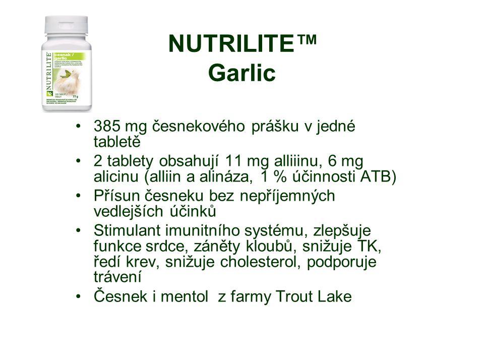 NUTRILITE™ Garlic 385 mg česnekového prášku v jedné tabletě 2 tablety obsahují 11 mg alliiinu, 6 mg alicinu (alliin a alináza, 1 % účinnosti ATB) Přísun česneku bez nepříjemných vedlejších účinků Stimulant imunitního systému, zlepšuje funkce srdce, záněty kloubů, snižuje TK, ředí krev, snižuje cholesterol, podporuje trávení Česnek i mentol z farmy Trout Lake