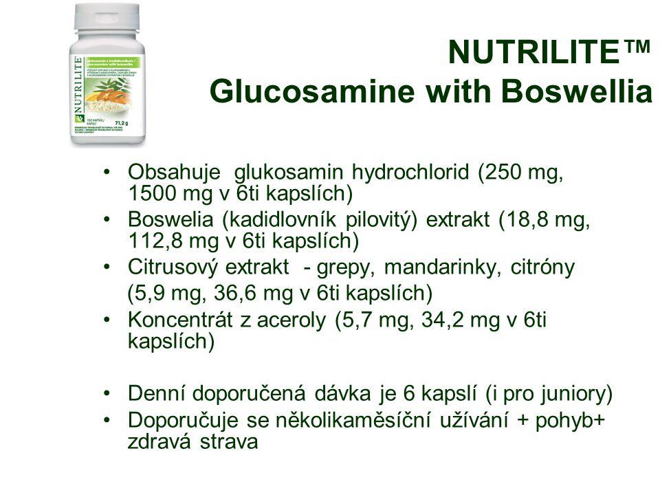 NUTRILITE™ Glucosamine with Boswellia Obsahuje glukosamin hydrochlorid (250 mg, 1500 mg v 6ti kapslích) Boswelia (kadidlovník pilovitý) extrakt (18,8 mg, 112,8 mg v 6ti kapslích) Citrusový extrakt - grepy, mandarinky, citróny (5,9 mg, 36,6 mg v 6ti kapslích) Koncentrát z aceroly (5,7 mg, 34,2 mg v 6ti kapslích) Denní doporučená dávka je 6 kapslí (i pro juniory) Doporučuje se několikaměsíční užívání + pohyb+ zdravá strava