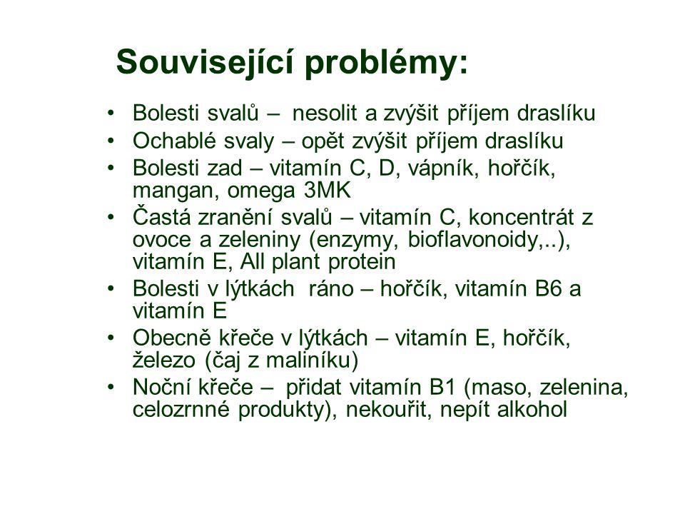 Související problémy: Bolesti svalů – nesolit a zvýšit příjem draslíku Ochablé svaly – opět zvýšit příjem draslíku Bolesti zad – vitamín C, D, vápník, hořčík, mangan, omega 3MK Častá zranění svalů – vitamín C, koncentrát z ovoce a zeleniny (enzymy, bioflavonoidy,..), vitamín E, All plant protein Bolesti v lýtkách ráno – hořčík, vitamín B6 a vitamín E Obecně křeče v lýtkách – vitamín E, hořčík, železo (čaj z maliníku) Noční křeče – přidat vitamín B1 (maso, zelenina, celozrnné produkty), nekouřit, nepít alkohol