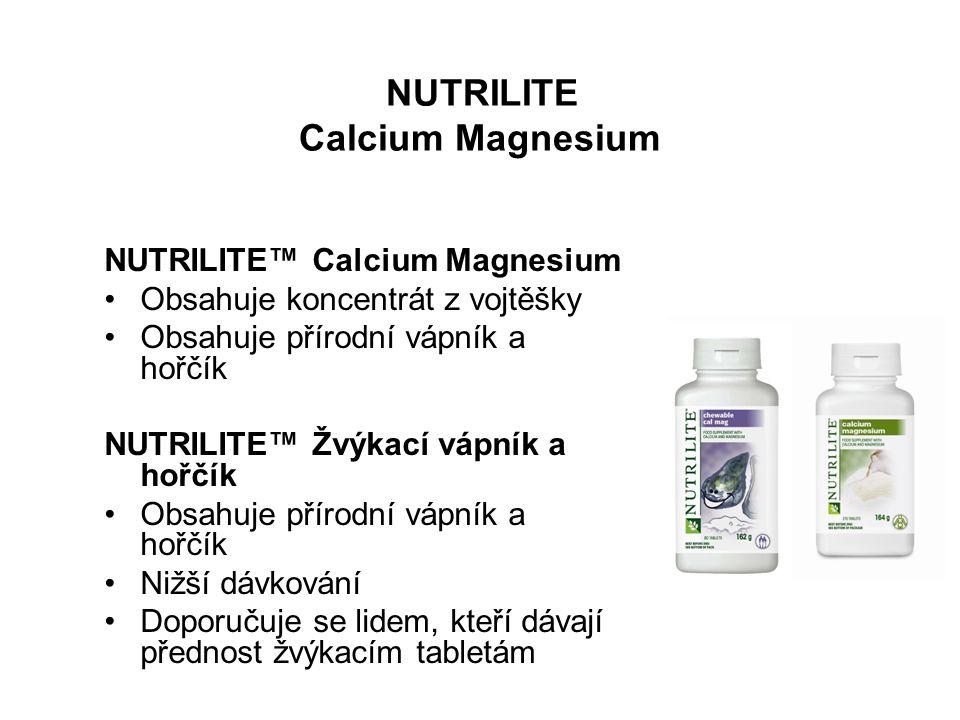 NUTRILITE Calcium Magnesium NUTRILITE™ Calcium Magnesium Obsahuje koncentrát z vojtěšky Obsahuje přírodní vápník a hořčík NUTRILITE™ Žvýkací vápník a hořčík Obsahuje přírodní vápník a hořčík Nižší dávkování Doporučuje se lidem, kteří dávají přednost žvýkacím tabletám