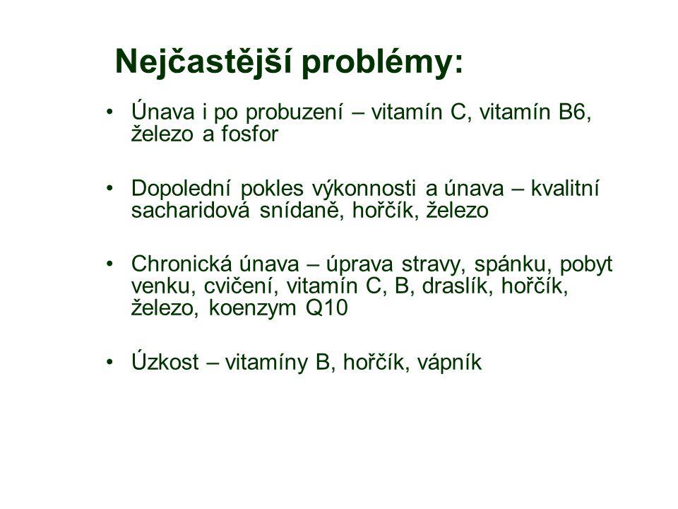 Nejčastější problémy: Únava i po probuzení – vitamín C, vitamín B6, železo a fosfor Dopolední pokles výkonnosti a únava – kvalitní sacharidová snídaně, hořčík, železo Chronická únava – úprava stravy, spánku, pobyt venku, cvičení, vitamín C, B, draslík, hořčík, železo, koenzym Q10 Úzkost – vitamíny B, hořčík, vápník