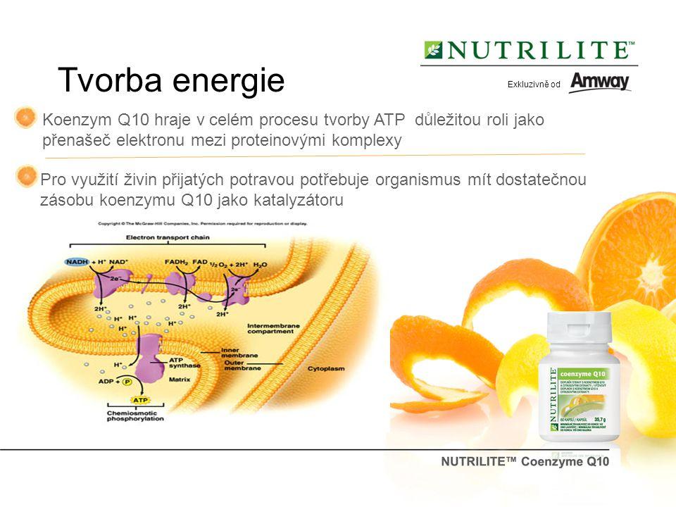 Tvorba energie Koenzym Q10 hraje v celém procesu tvorby ATP důležitou roli jako přenašeč elektronu mezi proteinovými komplexy Pro využití živin přijatých potravou potřebuje organismus mít dostatečnou zásobu koenzymu Q10 jako katalyzátoru Exkluzivně od