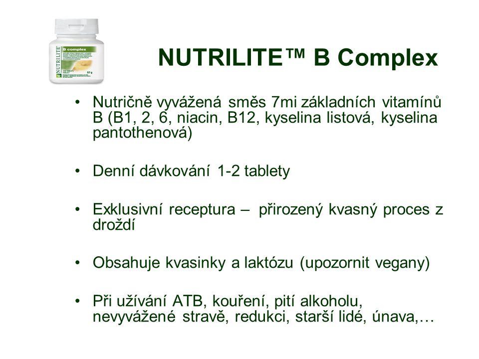 NUTRILITE™ B Complex Nutričně vyvážená směs 7mi základních vitamínů B (B1, 2, 6, niacin, B12, kyselina listová, kyselina pantothenová) Denní dávkování 1-2 tablety Exklusivní receptura – přirozený kvasný proces z droždí Obsahuje kvasinky a laktózu (upozornit vegany) Při užívání ATB, kouření, pití alkoholu, nevyvážené stravě, redukci, starší lidé, únava,…